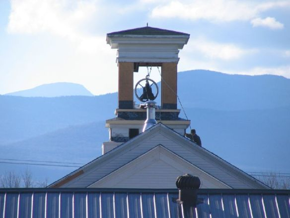 bell tower with Mt. Mansfield